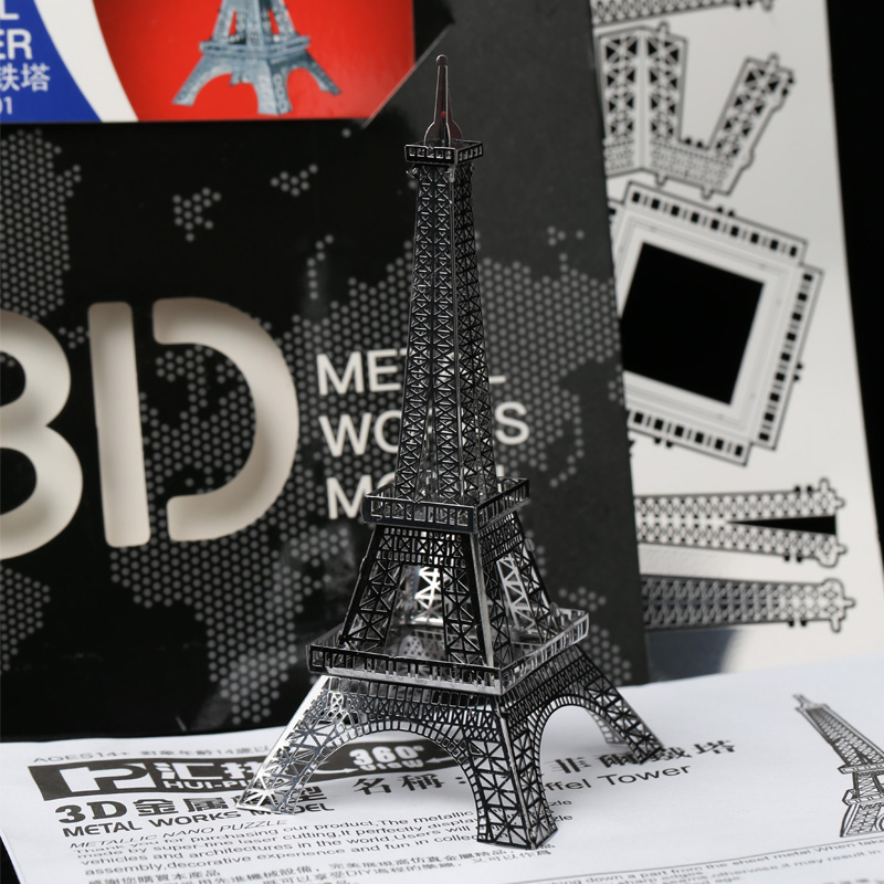 2017 new 3d metal works mini model puzzle toys eiffel tower of metal