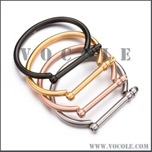 Horseshoe D-shaped screw bolt stainless steel men fashion bangle