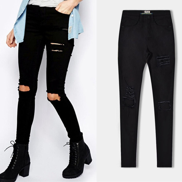 Ladies Cotton Moto Leggings High Strech Hot Sale Style Jeans 2017