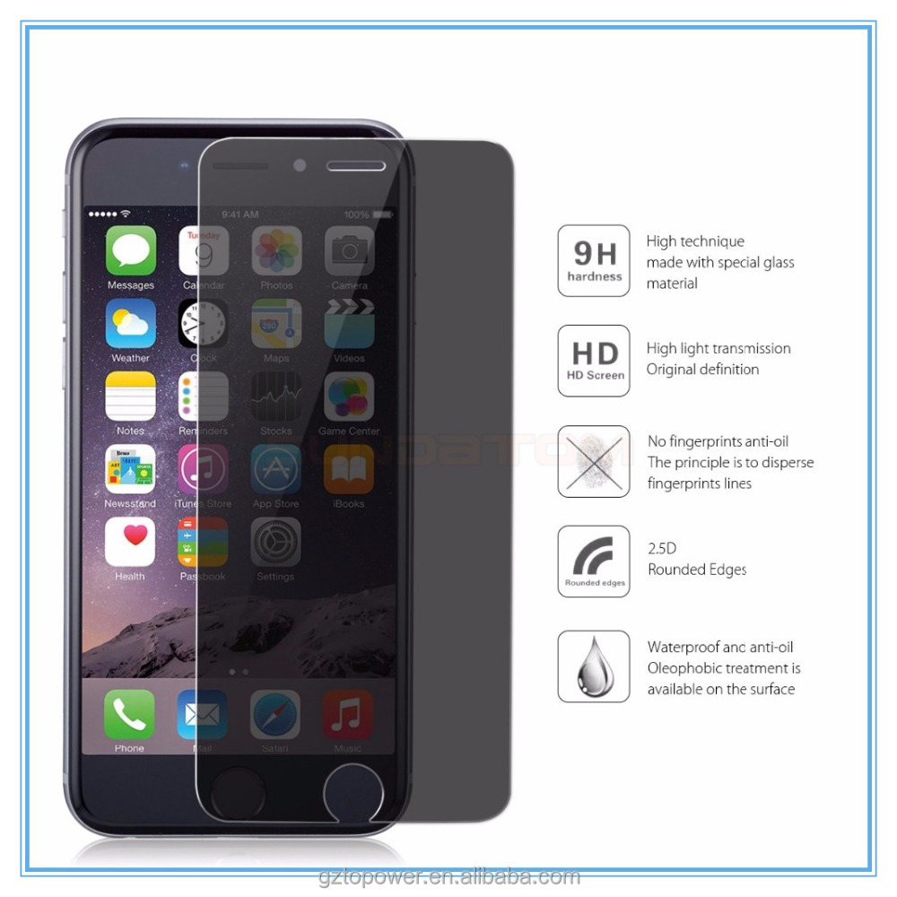 Fast Shipping Japan Anti-explosion 2.5D 0.3mm Dark Screen Protector for iPhone 6S