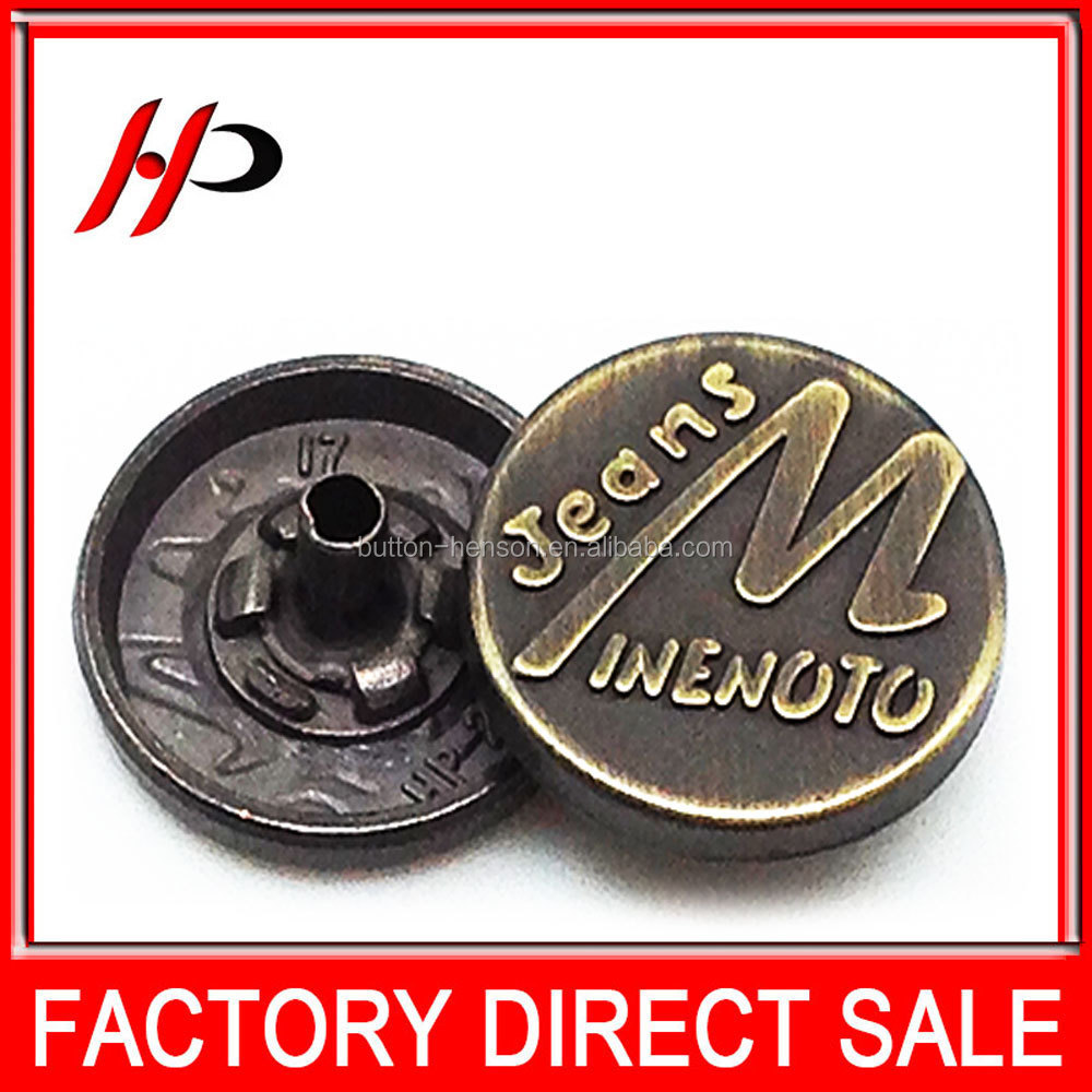 New bronze 17mm round metal garment snap on button cover for men suit