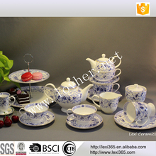Wholesale elegant blue flora porcelain bone china new bone tea set with gold