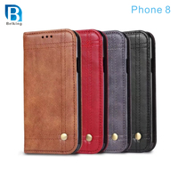mobile phone accessories , business style retro oil flip wallet leather cell phone case for iphone 8