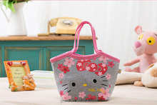 Fashional hello kitty design cotton cooler bag for lady