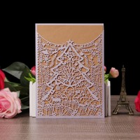 European Style Christmas tree design laser cut Christmas greeting card