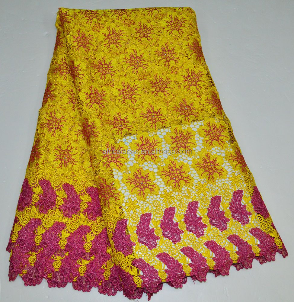 African wedding lace fabric / Yellow embroidery cording lace in China