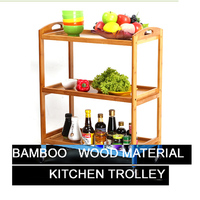 3 Tier bamboo, mdf solid wood kitchen trolley