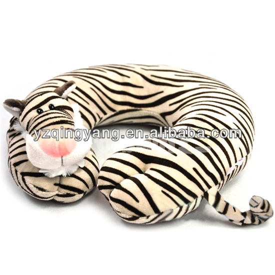 Hot sell stuffed animal cute and cheap round plush tiger neck pillow toy