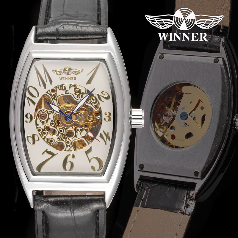Winner Luxury Brand Women <strong>Watches</strong> Fashion Square Shape Automatic Mechanical Analog Display Leather Vintage Ladies Vintage <strong>Watch</strong>