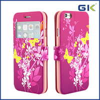 [GGIT] 3D Relief Colorful Pattern With Window Holster TPU+PU Phone Case For IPhone 6 Flip Cover