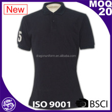 Low MOQ hot sell black 100% polyester collar Polo t shirt