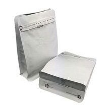 Custom Flat Bottom Side Gusset White Kraft Paper Packaging Bag With Aluminum Foil Colored Pouch
