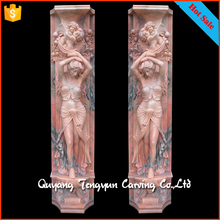 Traditional natural stone relief style lady statue column marble pillars