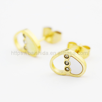 stick earring shell heart shape 14k gold jewelry for anniversary wedding engagement