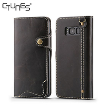 Hand Strap Genuine Handmade Leather Wallet Shockproof Flip Cover Snap Magnetic Closure Case For Samsung Galaxy S8