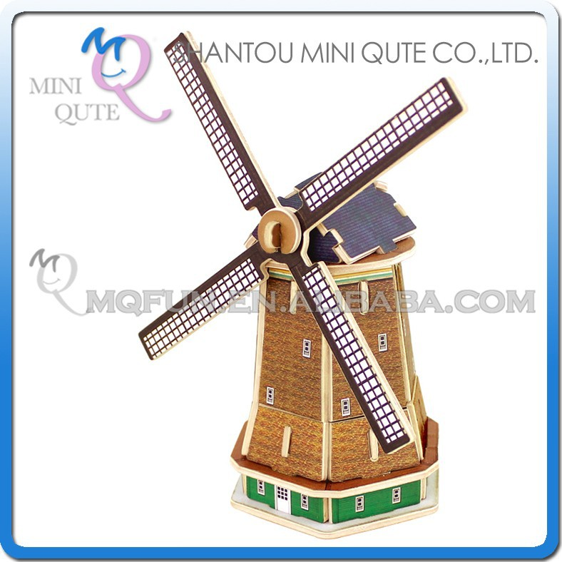 Mini Qute 3D Wooden Puzzle Dutch windmill world architecture famous building Adult kids model educational toys gift NO.MJ208