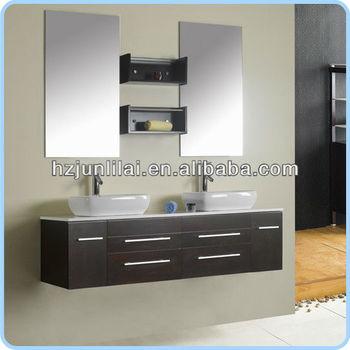 Double wash basin solid wood cabinet bathroom furniture - Double wash basin bathroom ...