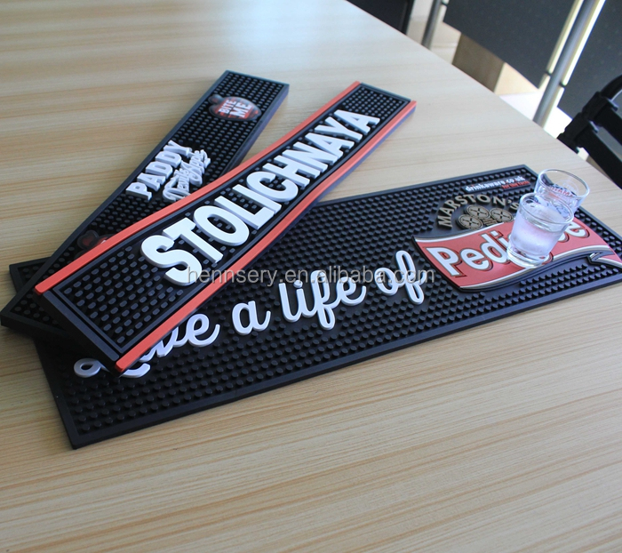 OEM logo soft pvc rubber bar mat