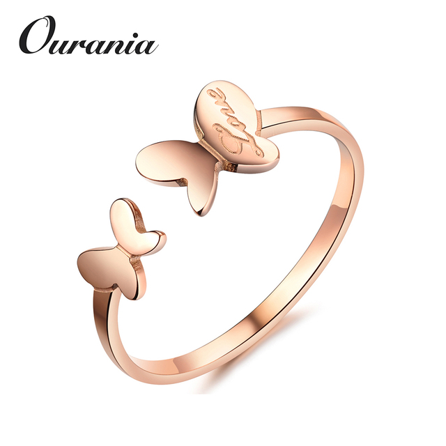 Latest Rose Gold Titanium Butterfly Love Wedding Band Rings Cute Designs For Girls