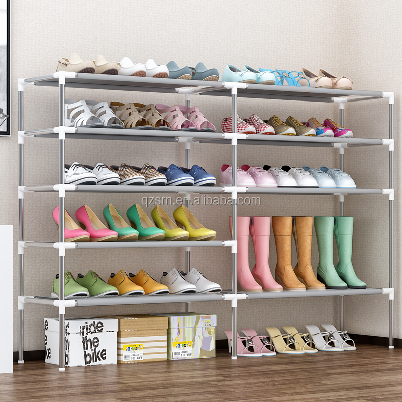 Hot detachable stackable double 6 tier storage rack Fabric shoe rack <strong>shelf</strong>