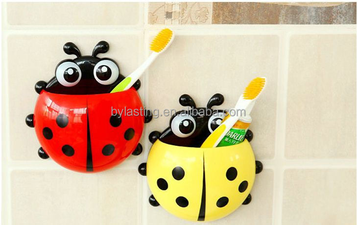 Fashion Insect Toothbrush Holder With Suction Cup Cute ladybird shape for indoor