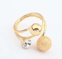 Korea delicate fashion ladies gold plated metal crytsal ball shape ring