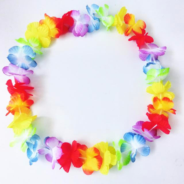 new customed clor hawaii floral garland/artificial flower necklace leis for carnival party/fabric wreath in different size