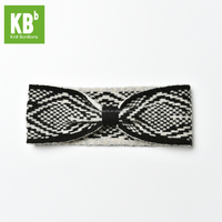 Fashion Custom Made 100% Lambswool Jacquard Winter Women Knitted Headband - Black / Grey