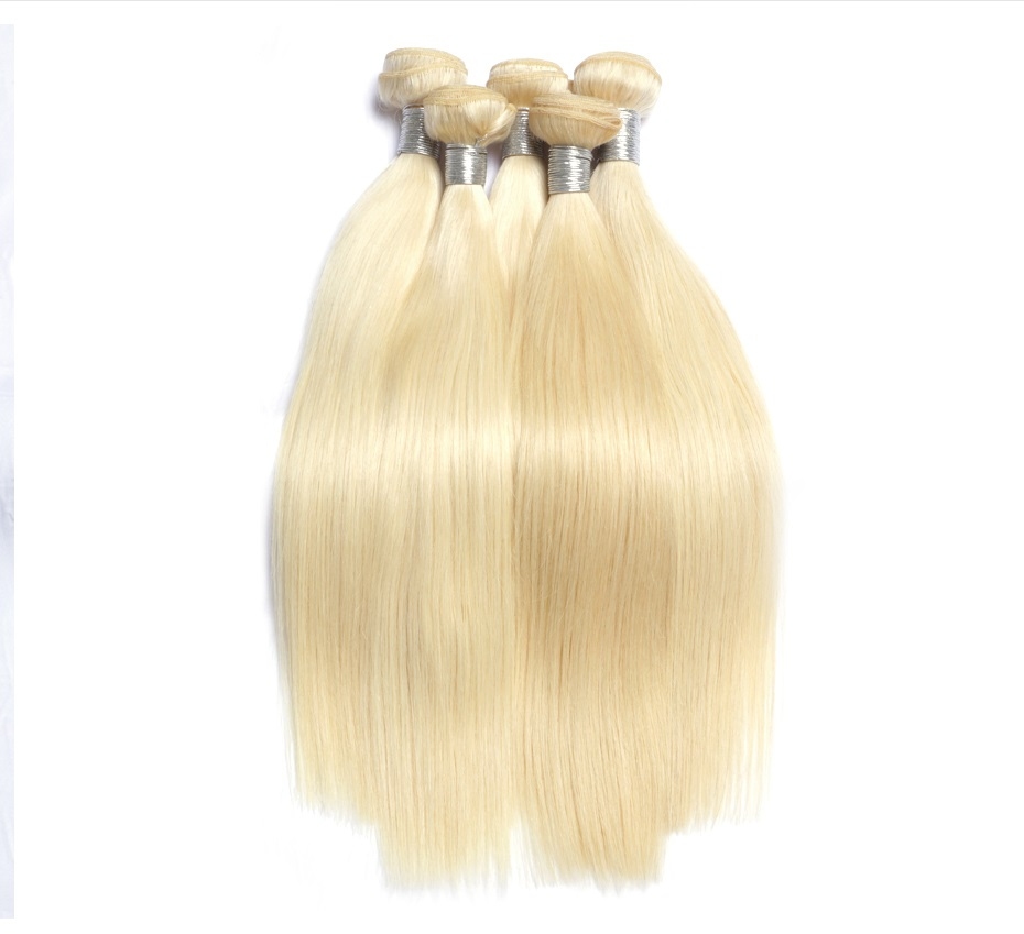 Buy human hair weave online double drawn thick and blonde silky straight 7a grade brazilian hair weft