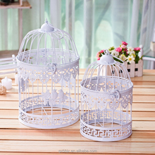 Set Of Two Handmade Metal Craft Decorative White Table Top Centerpieces Wedding Bird Cage Flower Ornaments With Hanging Hook