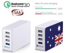 AU US EU UK KR SAA 38w 4 usb quick charge 3.0 desk charger mobile phone QC 3.0 mobile phone accessories and tablet accessories