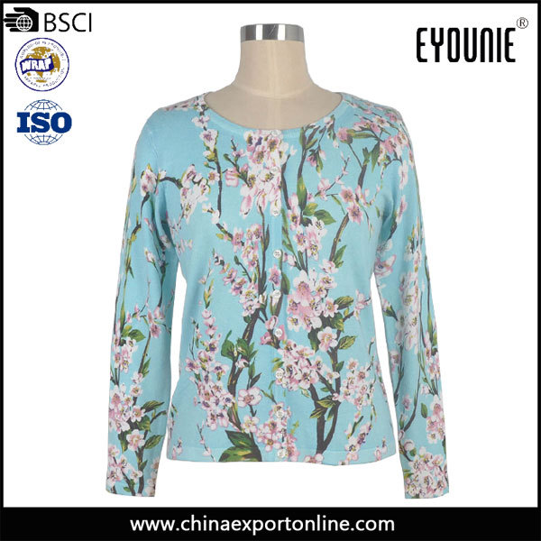 Women Gender Spring Sweater Basic Long Sleeve Floral Fabric Printed Cardigan