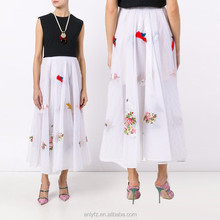 Latest design fashion ladies pleated embroidered maxi skirt