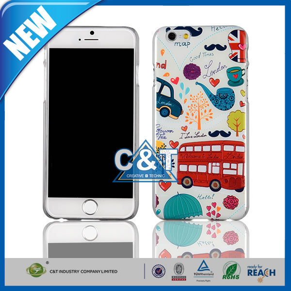 C&T England stylish paintable ultra thin slim transparent matte plastic case cover for apple iphone 6 plus