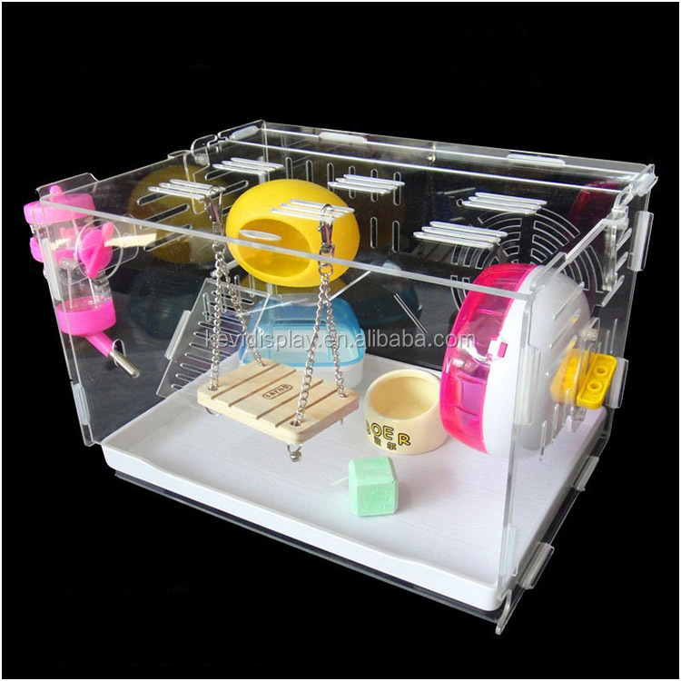 Funny Medium Size Clear Acrylic Hamster Cage With Toys And White Tray