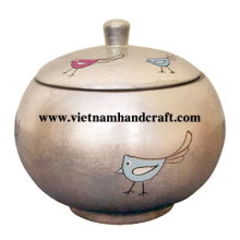 Eco-friendly hand lacquered vietnamese silver lacquered bamboo sugar jars with hand painted chickens