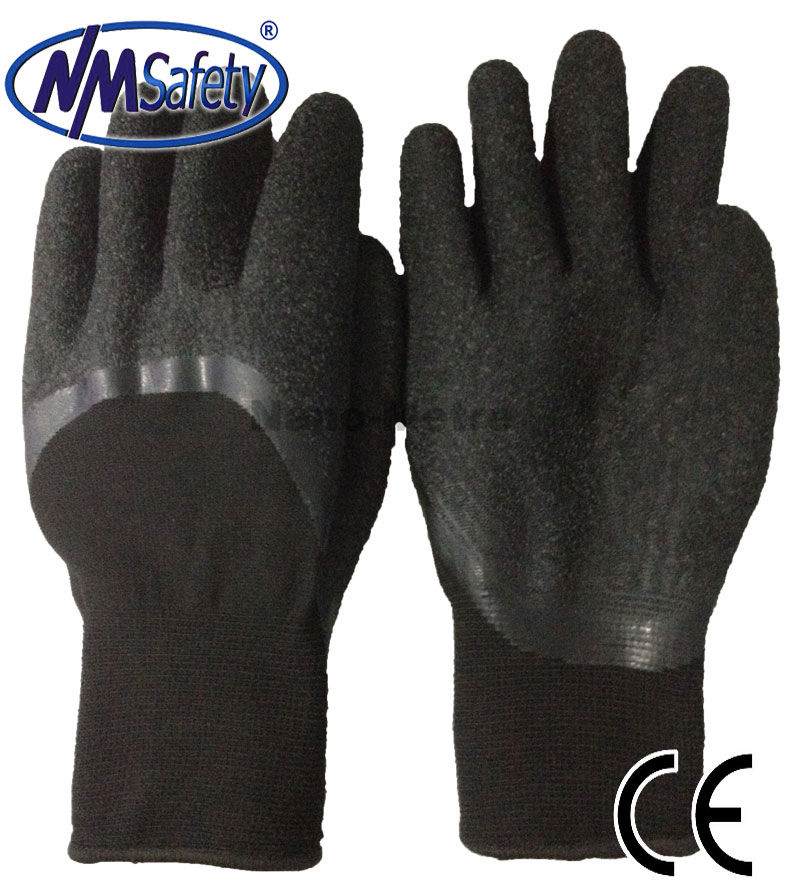 NMSAFETY black nylon liner and spandex hi tech foam nitrile glove/safety gloves