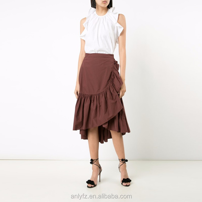 Wholesale new custom 100%cotton brown High Waist pleated skirt for women clothing