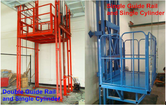 Customize warehouse platform guide rail cargo lift for sale