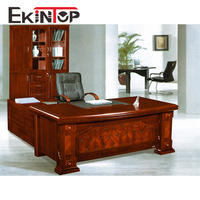 office furniture made in China officefurniture table design with paper veneer finished & Glass top