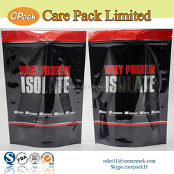 Wholesale plastic custom printed zipper whey protein packaging bags