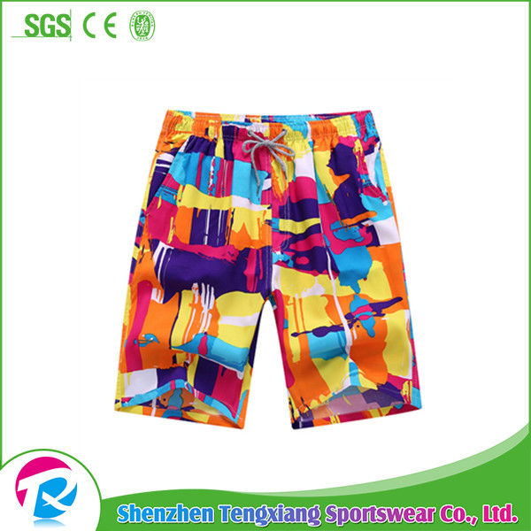 Custom Quick Dry Colorful 100% Polyester Beach Short Pants Men Swim Shorts