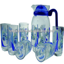 LYL009 7pcs glass water jug set , glass tea cup set