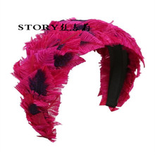 2018 new Euroupean fashion real colorful peacock feather party queen FEATHER wide HEADBAND women's hair decoration accessories