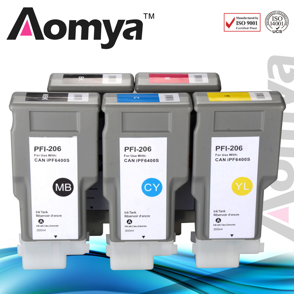 Patented design 300ml Pigment Ink Cartridge PFI-206 for Canon IPF6400 Printer Ink with Low Price and pigment chip