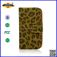 Specially designed leopard pattern wallet case for samsung s5, popular cell phone case for young lady Laudtec