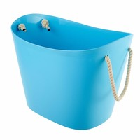 Oem laundry basket,plastic storage bucket with rope handle