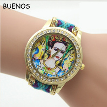 2017 Geneva New Style Vintage Ladies Multi Colors Fabric DIY Woven Strap Watches
