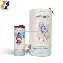Shenzhen Packaging Company Promotion Wholesale Paper Round Hat box Tube Gift Boxes for shower gel with cord handle