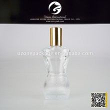 100ml body shaped with metal cap glass perfume bottle